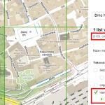 zobrazení a volba identifikátorů mapových listů